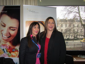 Jeanette Haynes, Body Benefits, with Diane Wilson at the Q-Med (Restylane) Academy at the Royal College of Physicians in London