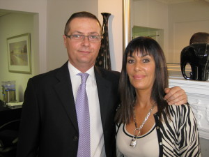 Dr Matteo Clementoni World Renowned Consultant Plastic Surgeon with Jeanette Haynes at the Lumenis Conference on Laser Skin Resurfacing